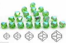 Czech MC Glass Bicone Beads (Rondell/Diamond) Peridot AB coated green crystals