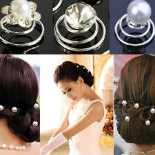 New 6/12x  Bridal Wedding Prom Crystal Pearl Flower Hair Pin Swirl Spiral Twist