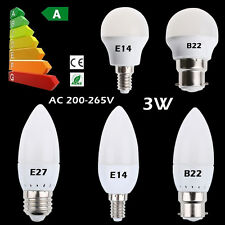3W E14 E27 B22 LED Candle Light Globe Bulbs Warm Cool White SMD Chandelier Lamp