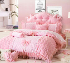 Single Double Pink Lace Princess Style Duvet Cover Bedding Set Girls Bedroom New