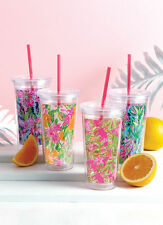 Lilly Pulitzer Tumbler With Straw TO GO CUP LARGE 20 oz. 4th of July NEW