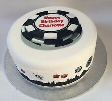 Personalised Casino Chip Edible Icing Sugar Topper &/Or Ribbon for Birthday Cake