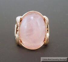 14 k Gold Filled Rose Quartz Cabochon Wire Wrapped Ring