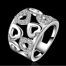 Hot Women Beautiful Solid Silver Austrian Crystal Heart Ring Size 7 8 D