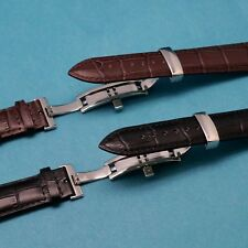 Quality Leather Watch Band with Push Button Butterfly Clasp for All 19 or 21mm