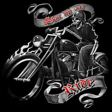 Shut Up And Ride Bikers Creed Skull Riding A Chopper Motorcycle T-Shirt Tee