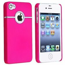 NEW DELUXE COLOR HARD RUBBERIZED THIN COVER CASE W/CHROME for iPHONE 4G 4S 4