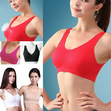 Sexy Women Ladies Double Layer Sport Exercise Yoga Non Padded Seamless Bra New