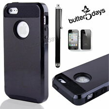 Black Rugged Rubber Hard Matte Cover Case Fit iPhone 4 4S w/ Screen Protector