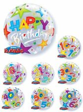 "22"" QUALATEX BUBBLES See Through Round Helium Birthday Party Age Balloons"