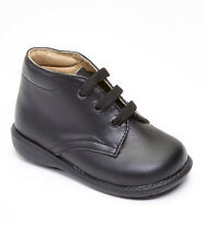 Baby Boy Black Leather High Top shoes with Laces: Size 3 to 8 Made in Mexico