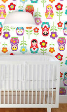 Peel&Stick Wallpaper, Russian Dolls, Removable, Reusable, Fabric, Custom design