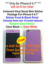 "iPhone 6 4.7"" Coloured Vinyl Skin Sticker Package, Bumper+Protector"