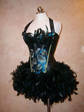 Victorian Masquerade Parade Peacock Feather Corset Costume Prom Ball Dress S-2XL