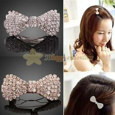 Fashion Sweet Korean Bling Rhinestone Crystal Bowknot Hairpin Barrette Hair Clip
