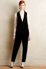 NEW Anthropologie  Harlyn Velvet Tuxedo Jumpsuit Black Size Sz S Small M Medium