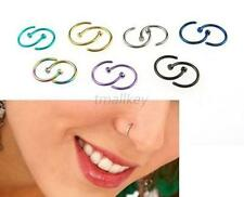 Fashion 2pcs Stainless Steel Nose Open Hoop Ring Earring Body Piercing Studs T72
