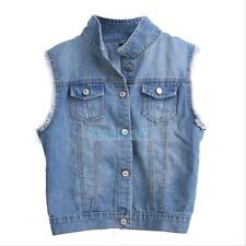VS2# Fashion Women Punk Frayed Denim Jean Vest Waistcoat Slim Sleeveless Jacket
