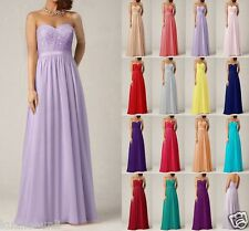Long Chiffon Formal Lace Evening Ball Gown Party Prom Bridesmaid Dress Size 6-18