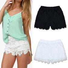 Womens Ladies Girls White Broderie Floral Denim Lace Shorts Elastic Pants