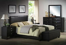Upholstered Platform Bed Frame Leather Style Modern w Headboard KING QUEEN FULL