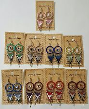 Spirit Of Nature Dream Catcher Seed Bead Dangle Handmade Hook Earrings! No Stone