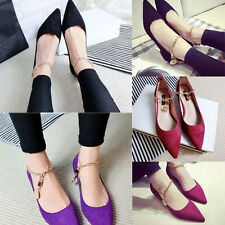 2015NEW Womens Spring Anckle Strap Ballet  Point Toe Studs Flat Heel Shoes Flats