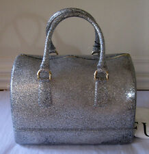 $248 Furla Candy Glitter Medium Satchel, Silver, 758507 B  B367