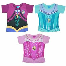 Official Disney Princess Frozen Kids Girls T-Shirt Anna Elsa Dress Up Ages 2-7