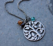 Tree of Life & Birthstone Necklace- Black Oxidized Sterling Silver Rope Chain