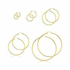 10K SOLID YELLOW GOLD 2mm 13-65mm Classic Round Hoop Earrings Snap Closure Italy