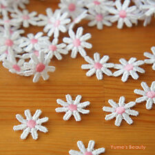 2 yards: White Daisy Lace with Pink centres 20mm (3/4 inch) Sewing Craft DIY