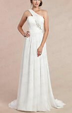 One shoulder A-line Bridesmaid Bridal Gown Wedding Dress Size 6+8+10+12+14+16+18