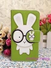 Animal Green Rabbit in Glasses Cartoon Leather Cover Flip Case For Various Nokia