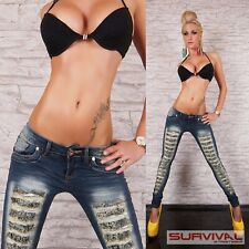 Womens Jeans Ripped Low Rise Skinny Stretch Denim Designer Size 6 8 10 12 14