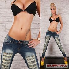 Womens NEW Jeans Ripped Low Rise Skinny Stretch Denim Designer Size 8 10 12 14