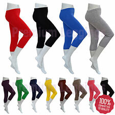 Womens Cropped 3/4 Summer Leggings - All Colours and Sizes