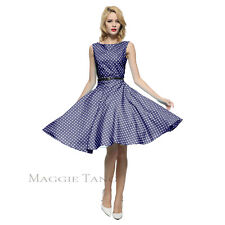Maggie Tang 50s VTG Retro Pinup Hepburn Rockabilly Polka Dot Housewife Dress 533