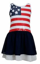 Bonnie Jean  Little Girls 2T-6X  Red White Blue  4th July American Flag Dress