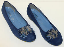 """JENNY by ARA """"Priscilla"""" Navy Blue Suede Ballet Flats with PomPoms"""