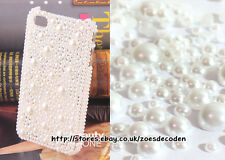 Assorted Mix Size Pure White Half Faux pearl round rhinestone Craft Flat back