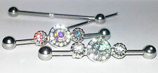 14g ELEGANT SUPER BLING ROUND CZ or AURORA GEM JEWEL INDUSTRIAL BARBELL EAR BAR