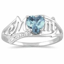 .50 Ct Genuine Aquamarine & Diamond Heart Mom Ring .925 Sterling Silver