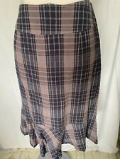 Adini seersucker check 100% cotton skirt frill hem side zip fully lined
