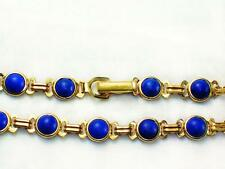 Lapis lazuli stone genuine 14k gold filled 6mm wide 7 or 8 inches long bracelet