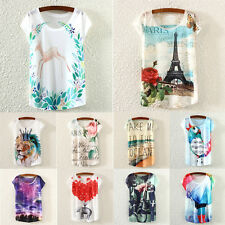 Ladies Women Short Sleeve Loose Casual Animal Floral Printed shirt Tops Blouse