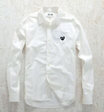 NEW 4 Sizes WHITE 2015 COMME DES GARCONS CDG PLAY BLACK HEART LONG SLEEVE SHIRT