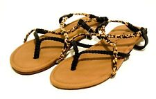 NEW BILLABONG Crossing Over Black LEOPARD Strappy Sandals | Womens 6 7