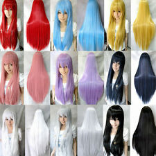 Newest Cheap Candy Colors Womens Long Straight Cosplay/Halloween Full Hair Wigs
