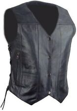 WOMEN'S MOTORCYCLE RIDING LEATHER 10 POCKETS VEST SIDE LACES REAL LEATHER BLACK